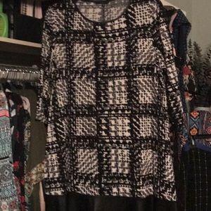 Tiana B. B&W Print Dress with Leather Skirt 20W